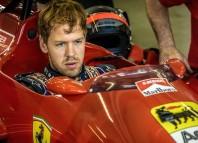 Sebastian Vettel alla guida della Ferrari