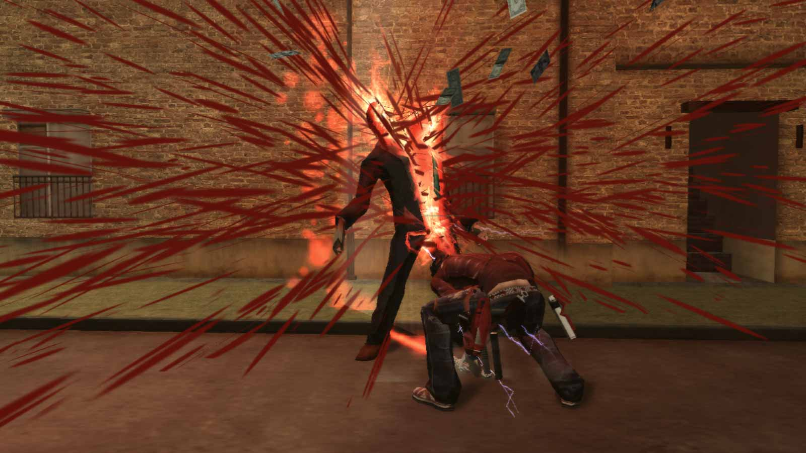 Una scena di un videogame violento